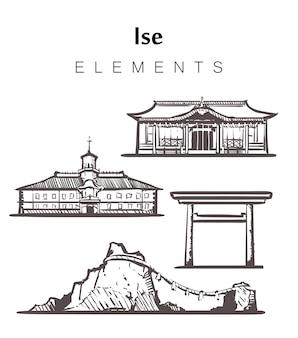 Ensemble de bâtiments ise dessinés à la main
