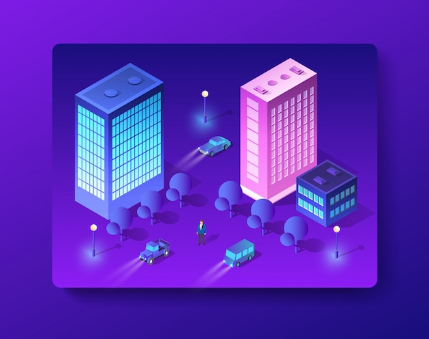 Ensemble de bâtiments isométriques modernes
