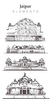 Ensemble de bâtiments de jaipur dessinés à la main