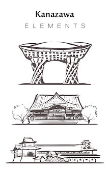 Ensemble de bâtiments kanazawa isolé sur blanc