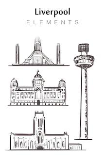 Ensemble de bâtiments de liverpool isolé sur blanc