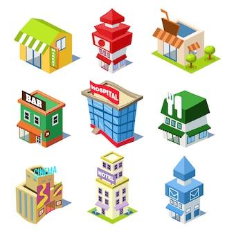 Ensemble des bâtiments et des magasins de la ville isométrique