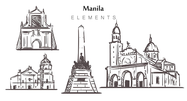 Ensemble de bâtiments de manille isolé sur blanc