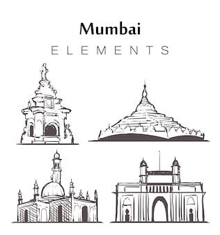 Ensemble de bâtiments de mumbai dessinés à la main