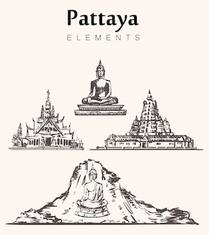 Ensemble de bâtiments de pattaya dessinés à la main.illustration de croquis d'éléments de pattaya.big buddha statue, wat chalong temple, khao chi chan-golden mountain, wat yang