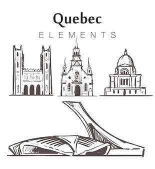 Ensemble de bâtiments québécois dessinés à la main
