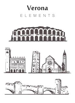 Ensemble de bâtiments de vérone isolé sur blanc