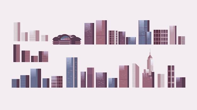 Ensemble de bâtiments de la ville horizontal isolé