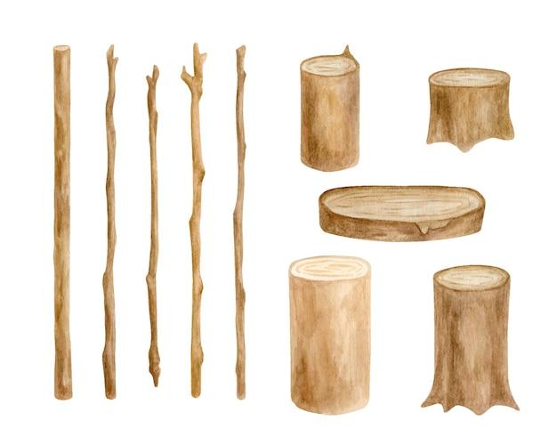 Ensemble de bâtons et de souches de bois à l'aquarelle branches d'arbres dessinées à la main et tranche de bois