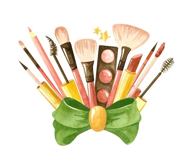 Ensemble de beauté avec un arc vert et des produits cosmétiques illustration aquarelle de maquillage