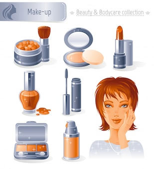 Ensemble de beauté et cosmétiques. collection de maquillage avec belle fille rousse.
