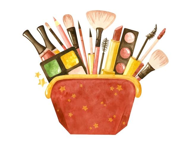 Ensemble de beauté avec un sac cosmétique et des produits cosmétiques illustration aquarelle de maquillage