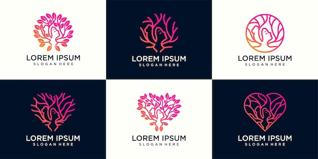 Ensemble de beauté visage de femme en feuilles, en arbre et en brindilles. modèle de conception de logo féminin vectoriel.