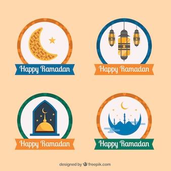 Ensemble de beaux autocollants de happy ramadan