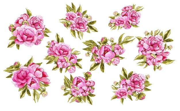Ensemble de beaux bouquets roses aquarelles de fleurs