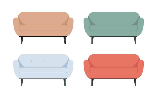 Ensemble de beaux canapés lumineux de couleur rouge, bleu, vert sur de hautes jambes sur un blanc isolé