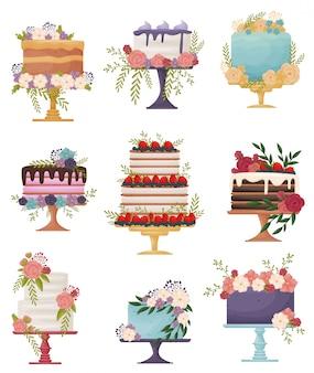Ensemble de beaux gâteaux de fête sur un stand. illustration sur fond blanc.