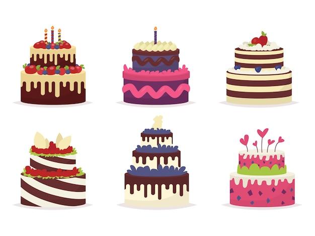 Ensemble de beaux gâteaux pour les anniversaires, mariages, anniversaires et autres célébrations. illustration d'un