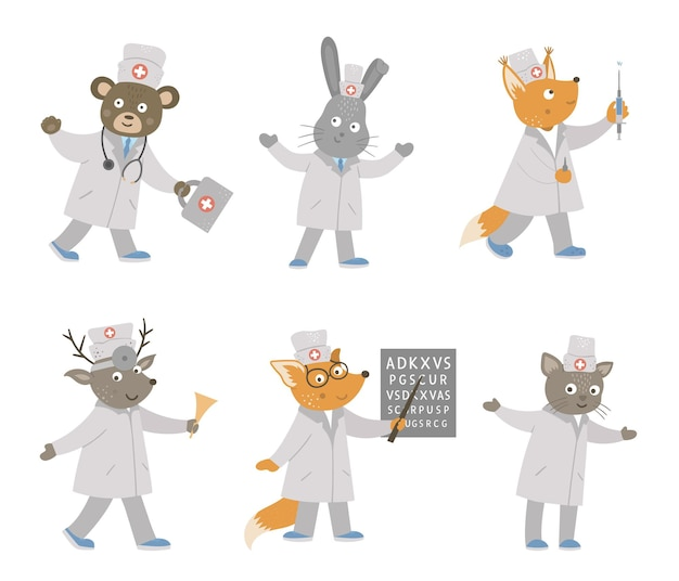 Ensemble de beaux médecins animaux isolés