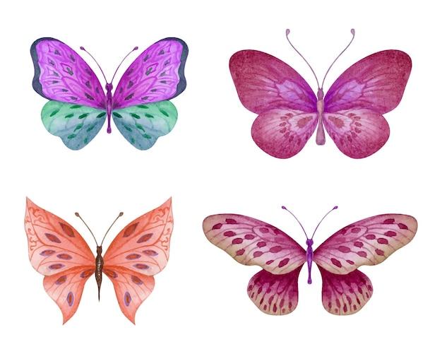 Ensemble de beaux papillons aquarelle dessinés à la main
