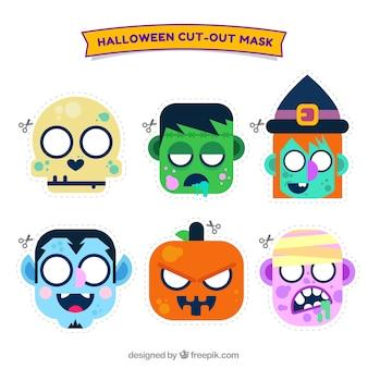 Ensemble de beaux personnages de halloween dans un design plat