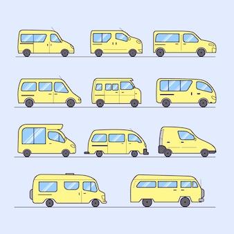 Ensemble de beaux vans design plat