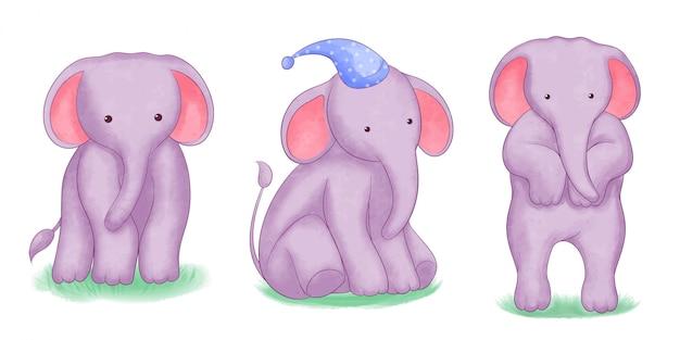 Ensemble de bébé éléphant aquarelle