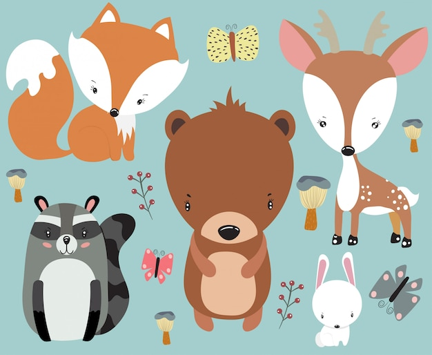 Ensemble de bébés animaux mignons