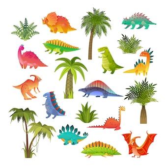 Ensemble de bébés dinosaures.