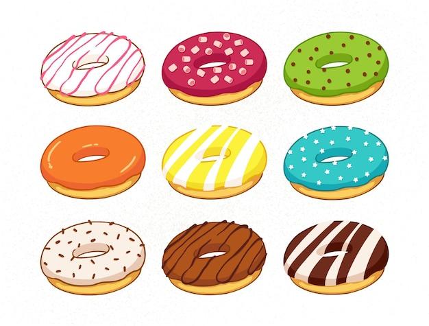 Ensemble de beignets colorés de dessin animé isolé sur fond blanc collection de beignets vue latérale