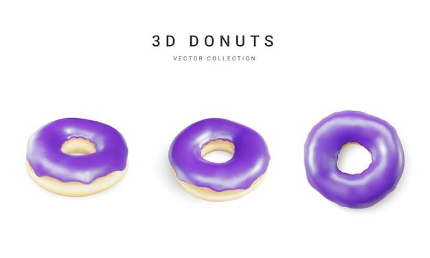 Ensemble de beignets violets isolé sur fond blanc. collection de beignets colorés. divers beignets glacés. illustration vectorielle.