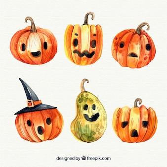 Ensemble de belle aquarelle halloween pumpkins