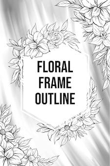 Ensemble de belle bordure de cadre de fleur rose art en ligne