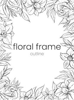 Ensemble de belle bordure de cadre tropical fleur rose art