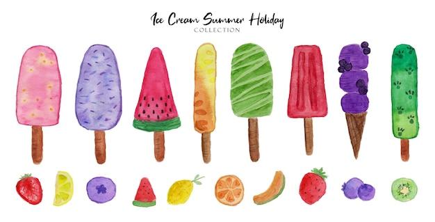 Un ensemble de belles aquarelles d'été de crème glacée de peinture à la main