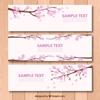 Ensemble de belles bannières de fleurs de cerisier