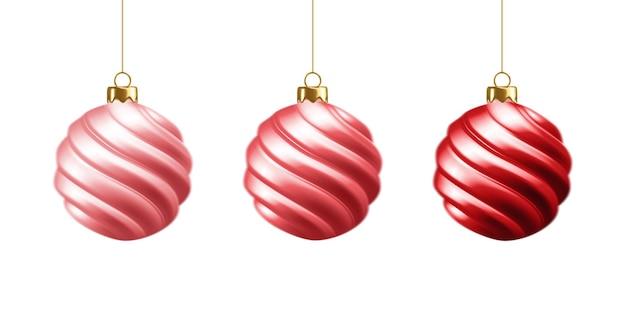 Ensemble de belles boules de noël 3d réalistes rouges isolées sur une décoration de noël blanche