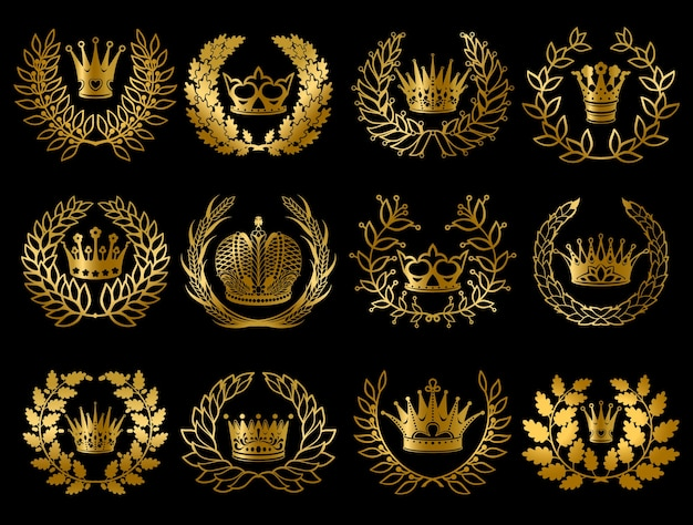 Ensemble de belles couronnes d'or