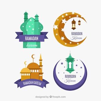 Ensemble de belles étiquettes de ramadan
