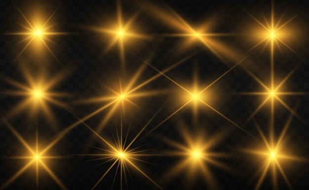 Ensemble de belles étoiles brillantes. effet lumineux. étoile brillante. belle lumière pour illustrer. étoile de noël. les paillettes blanches brillent avec un effet de lumière spécial. le vecteur brille sur un fond transparent.
