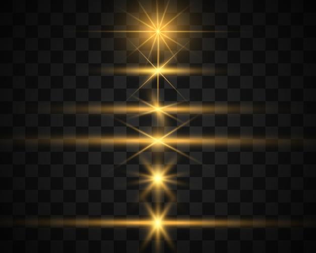 Ensemble de belles étoiles brillantes. effet lumineux. étoile brillante. belle lumière pour illustrer.des paillettes blanches scintillent avec un effet de lumière spécial. le vecteur scintille.