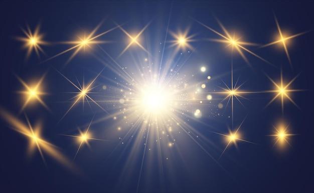 Ensemble de belles étoiles brillantes. effet lumineux. étoile brillante.