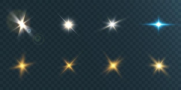 Ensemble de belles étoiles brillantes sur une illustration de fond transparent.