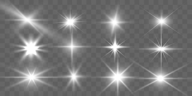 Ensemble de belles étoiles brillantes d'or. effet lumineux bright star. belle lumière pour illustration. étoile de noël. des étincelles blanches scintillent d'une lumière spéciale. vecteur scintille sur fond transparent