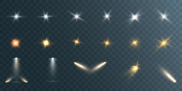 Ensemble de belles étoiles lumineuses sur transparent