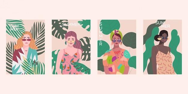 Ensemble de belles femmes sur fond de plantes exotiques. modèle d'été.