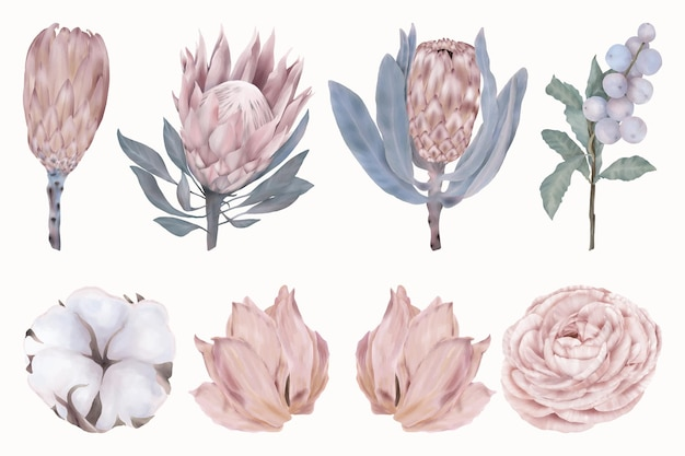Ensemble de belles fleurs roses et baies bleues