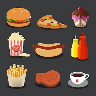 Ensemble de belles icônes plats colorés avec de la nourriture.