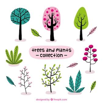 Ensemble de belles plantes et des arbres dans le style vintage