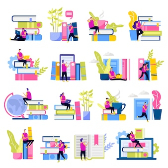 Ensemble de bibliothèque d'icônes plates personnages humains avec des appareils électroniques et des piles de livres isolés